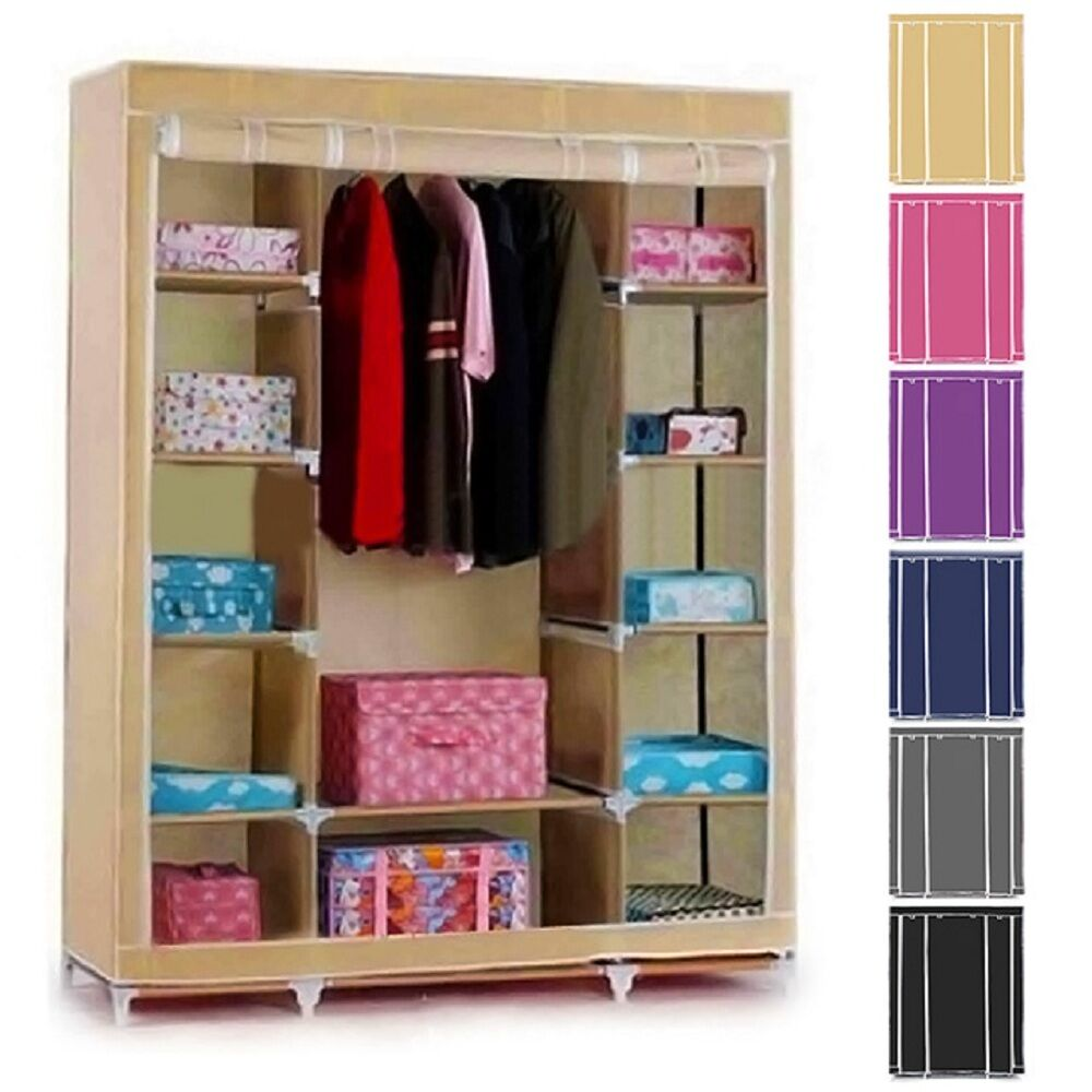 Canvas Storage Boxes For Wardrobes: Double TRIPLE MULTIPLE CANVAS WARDROBE HANGING RAIL HOME