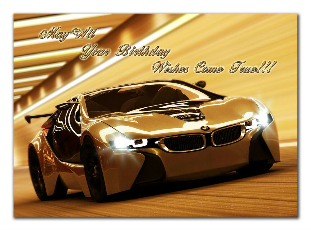 c257 large personalised birthday card custom made for any name bmw sport car ebay. Black Bedroom Furniture Sets. Home Design Ideas
