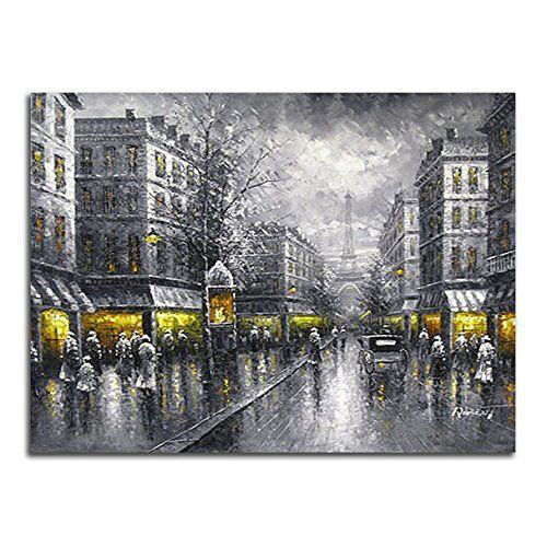 Large Paris Street Painting Reproduction Canvas Print Wall