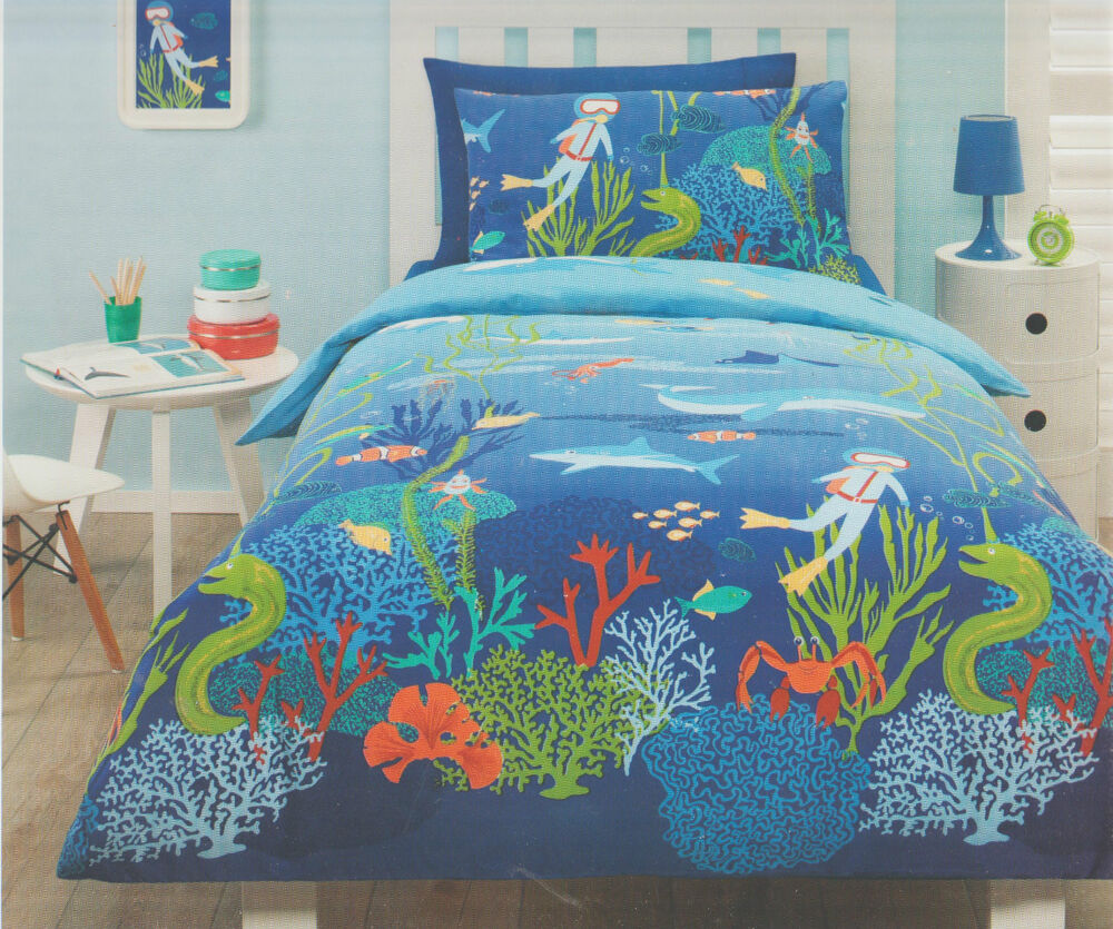 Underwater ocean sea fish beach double full bed quilt for Fish bedding twin