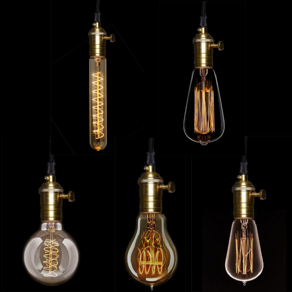 edison gl hlampe e27 gl hbirne lampe retro vintage fadenlampe deko antik 30er ebay. Black Bedroom Furniture Sets. Home Design Ideas