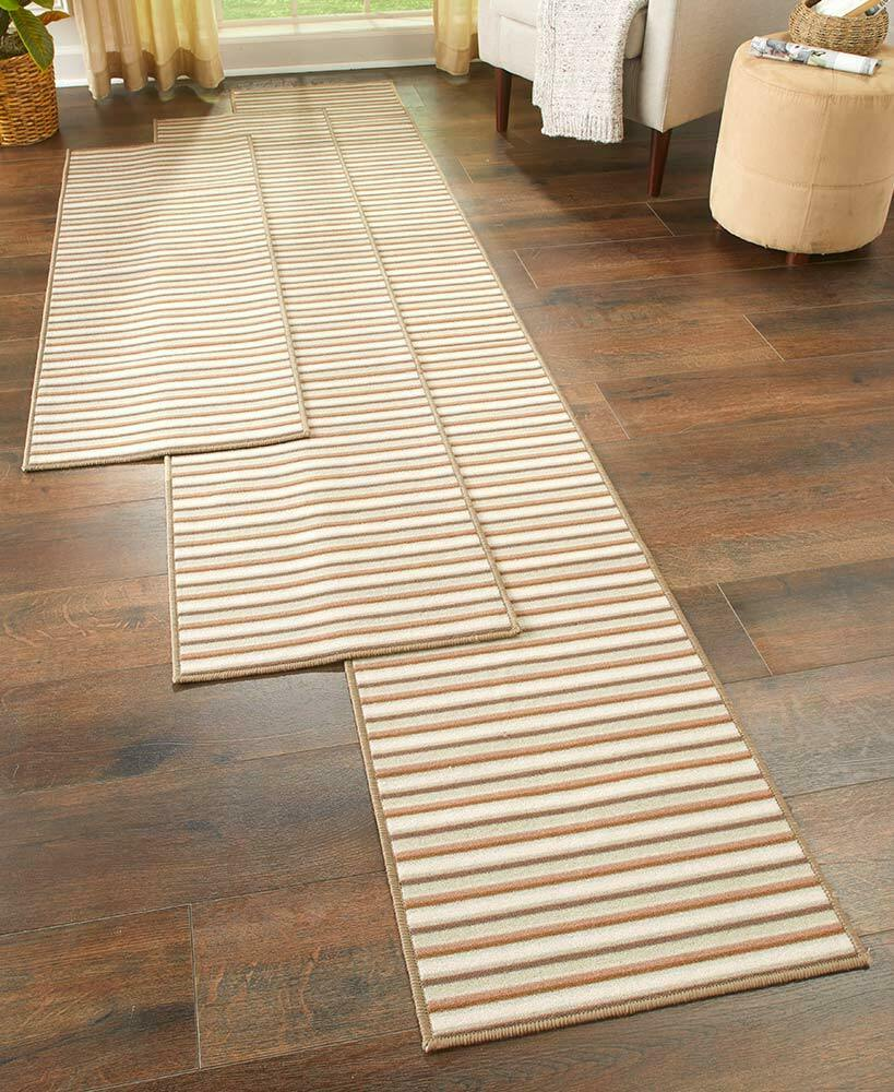Washable Hall Rugs: EXTRA-LONG NONSLIP STRIPED FLOOR RUNNER RUG SPICE SAND OR