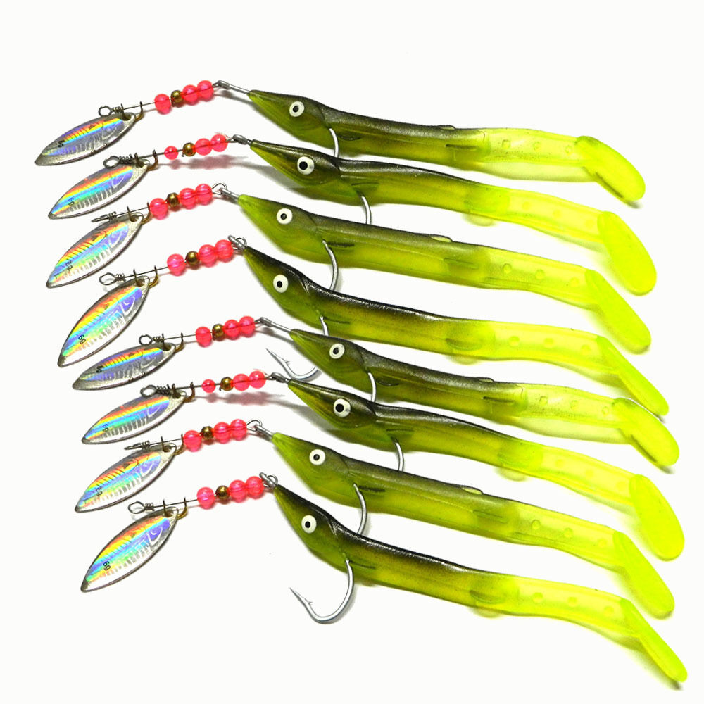 Lot 8pcs metal spoon fishing lures worm bass trout crank for Spoon fishing for bass