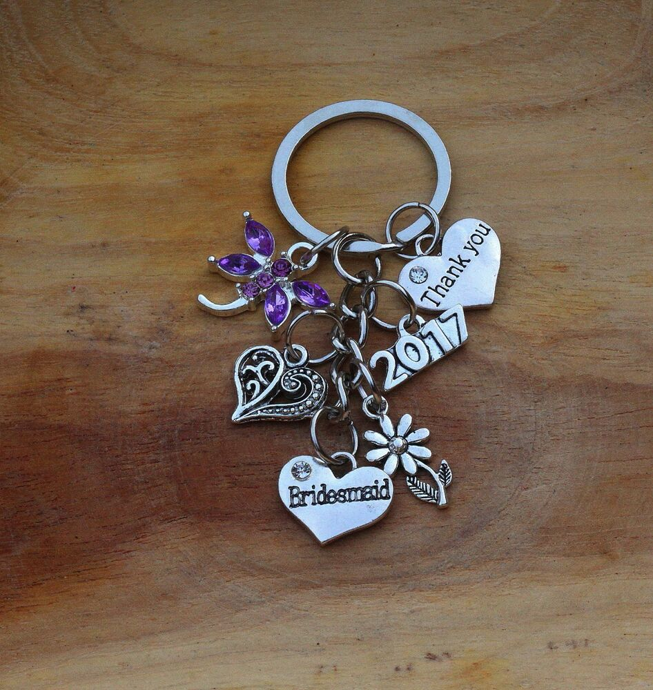 Wedding Thank You Gifts For Bridesmaids: Thank You Bridesmaid, Bride Flower Girl Gift Keyring