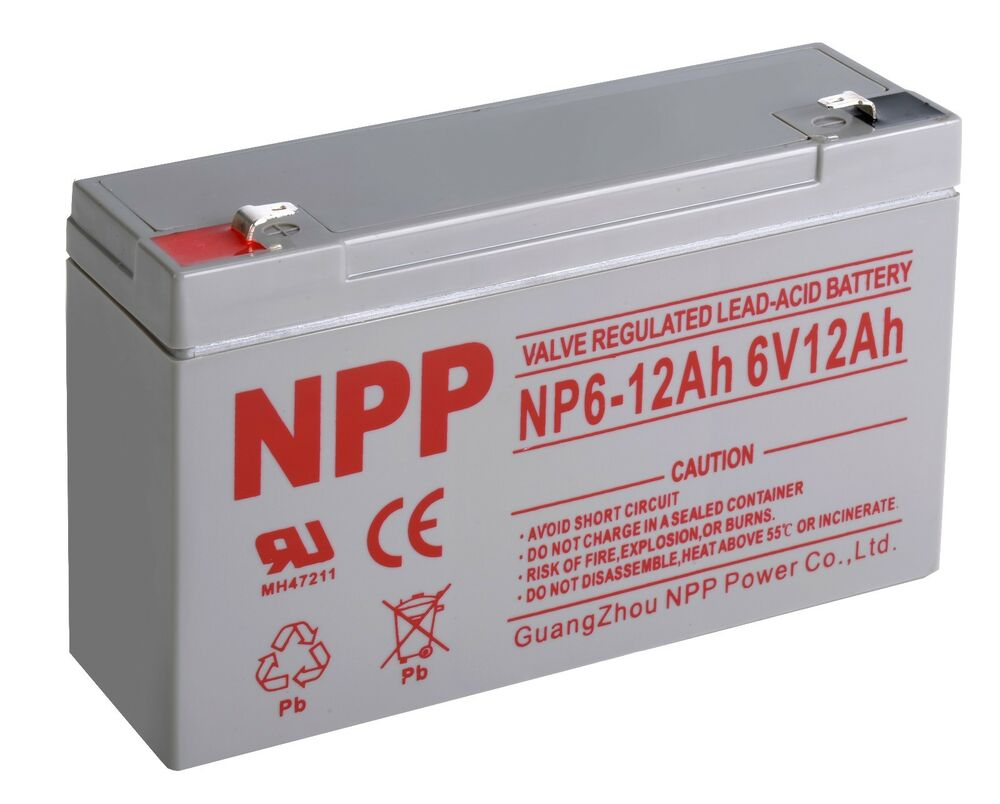 npp 6v 12 amp 6 volt 12ah rechargeable sealed lead acid battery ebay. Black Bedroom Furniture Sets. Home Design Ideas