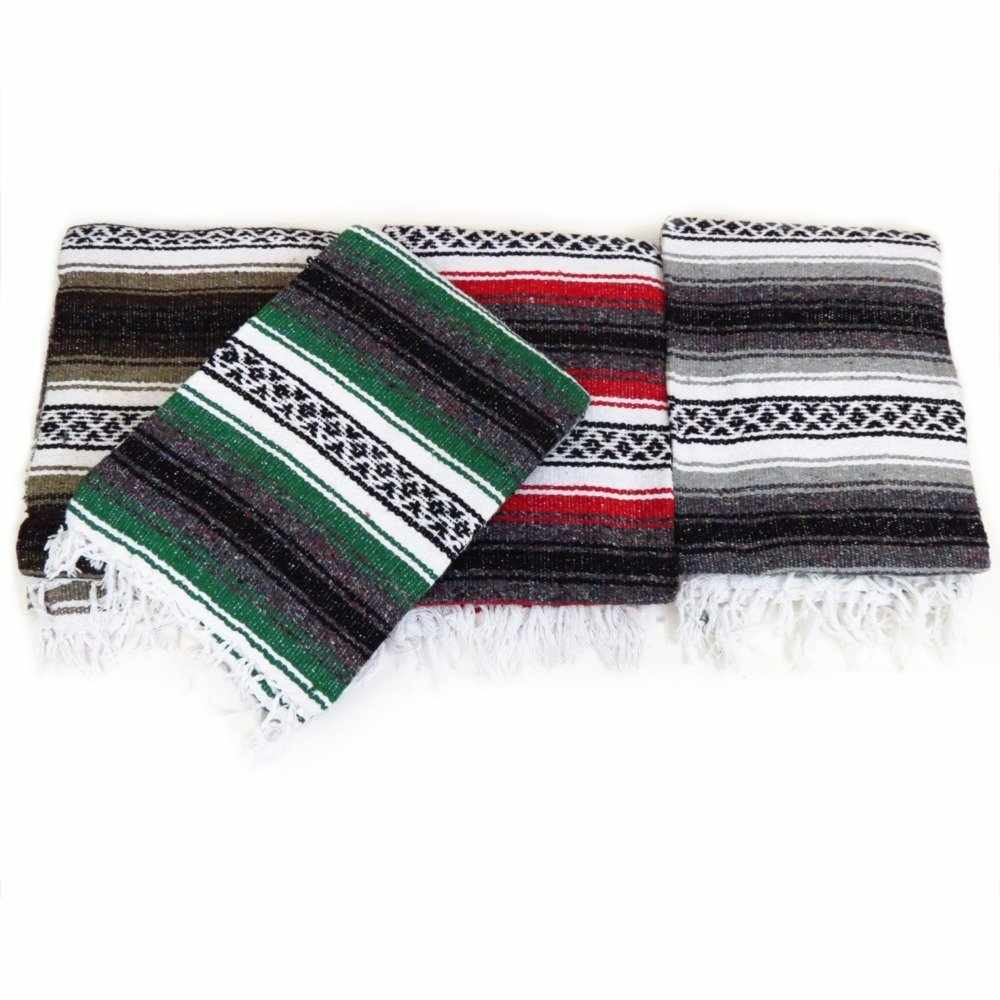 NEW Large Hand Woven Mexican Blanket Color Yoga Mat