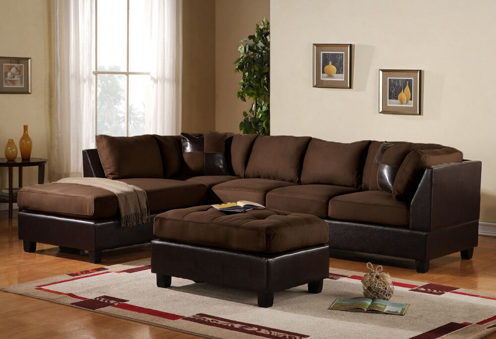3pc sectional sofa microfiber faux leather set w chaise for Microsuede living room furniture