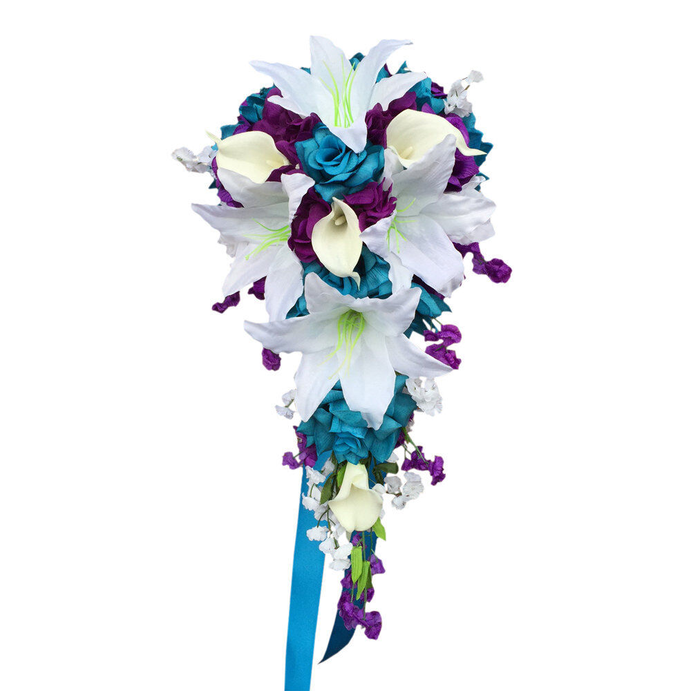 Cascade Wedding Bouquet: Turquoise, White,Purple