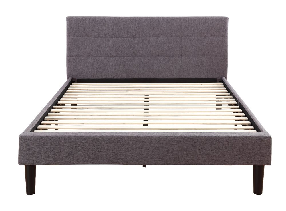 Grey Linen Fabric Upholstered Platform Bed With Wooden