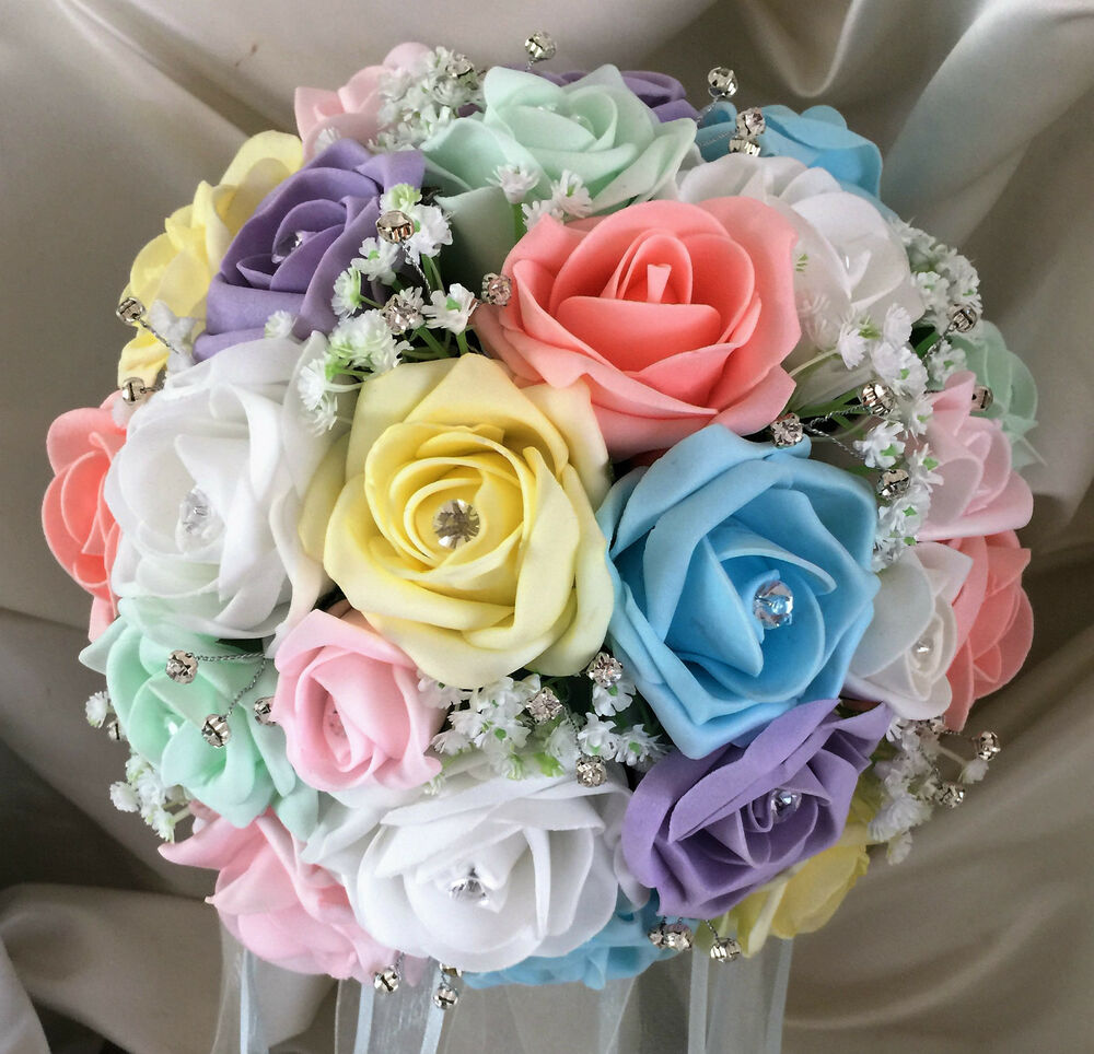 Pastel Wedding Flowers: Wedding Flowers Brides Bouquet Pastel Rainbow Roses Posy