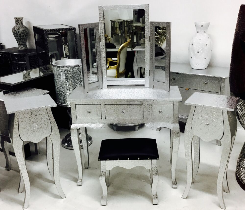 Embossed Silver Metal Dressing Table Set Furniture Stool 2 Bedsides Ebay