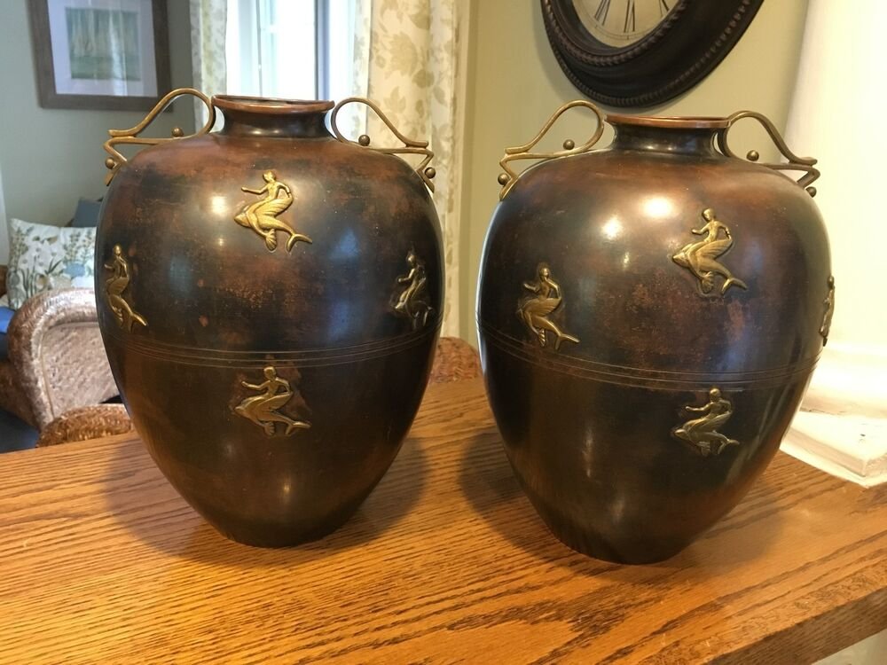 Pair Of Antique French Italian Art Deco Vases Copper Urns Fine Home Decor Ebay