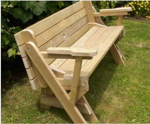Plans Emailed To You Folding Bench Into A Picnic Table