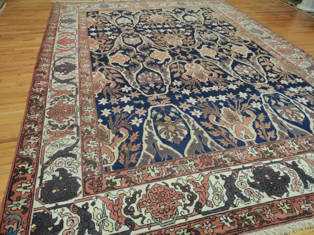 Romanian 9x12 Oriental Area Rug Wool Rust Navy Very