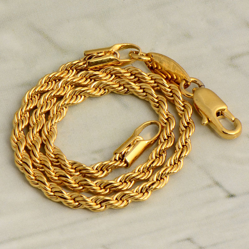 Gold Wrist Bracelet: Womens 14K Yellow Gold Filled Authentic Rope Chain