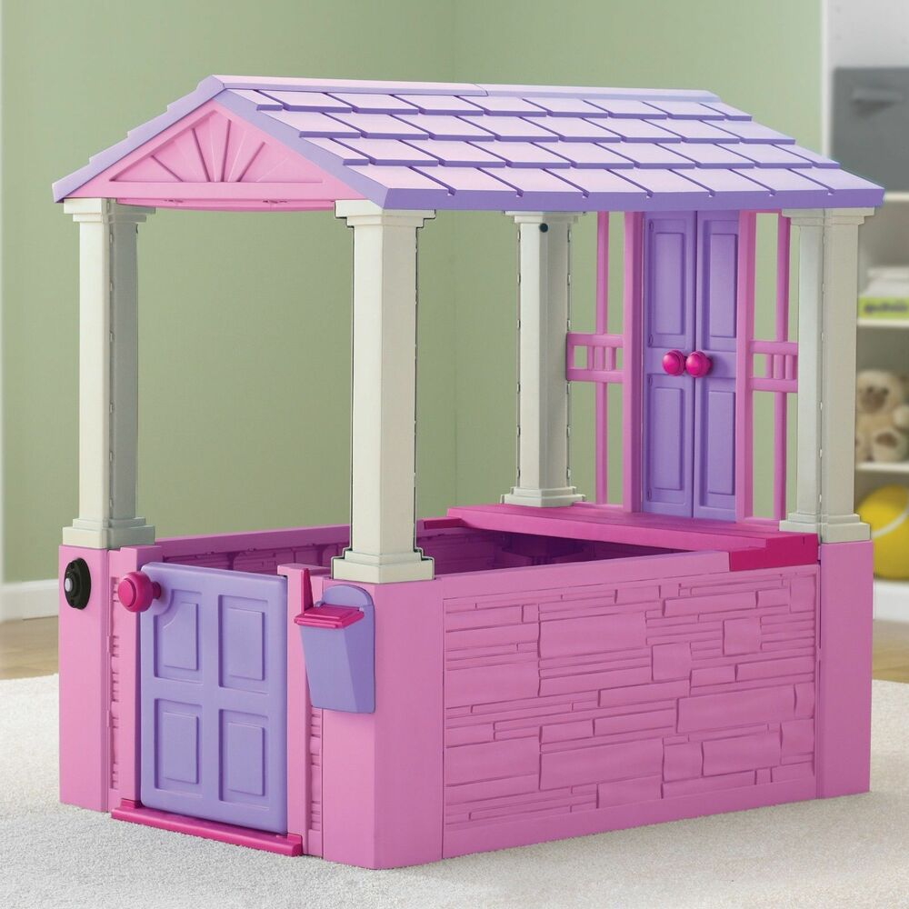 kids outdoor playhouse cottage indoor backyard children girls pink purple home ebay. Black Bedroom Furniture Sets. Home Design Ideas