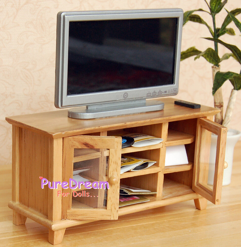 Dollhouse Miniatures Tv: 1:12 Dollhouse Miniature Wooden TV Cabinet/Stand/ Bench