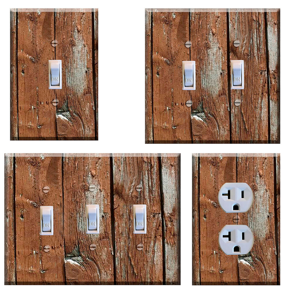 Light switch plate cover wall home decor rustic image of for Decor light switch