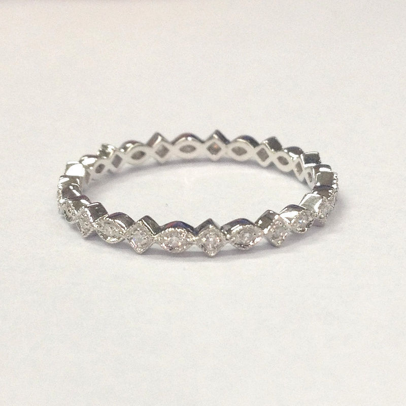 10K White Gold Matching Wedding Band Diamond Full Eternity Ring Art Deco Anti