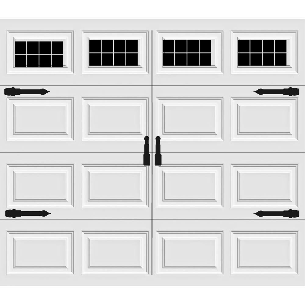 craftsman 39 s style vinyl garage door decal kit faux windows hardware version 3 ebay. Black Bedroom Furniture Sets. Home Design Ideas