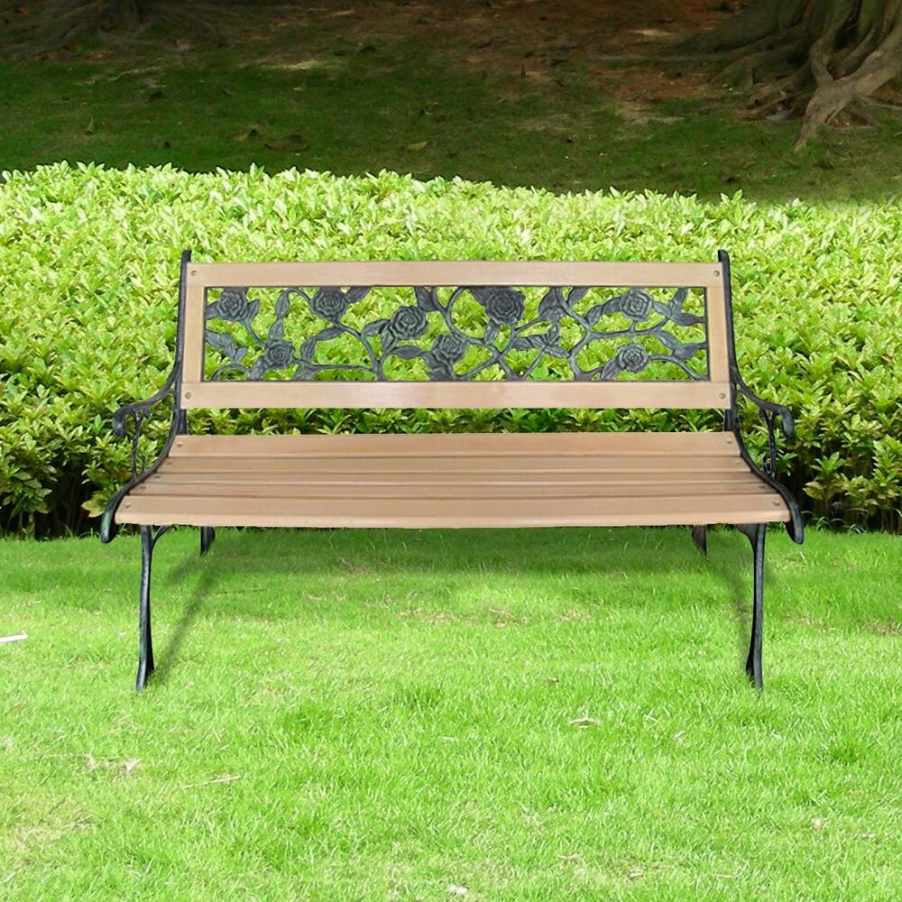 Patio Outdoor Park Vintage Wooden And Iron Garden Bench W
