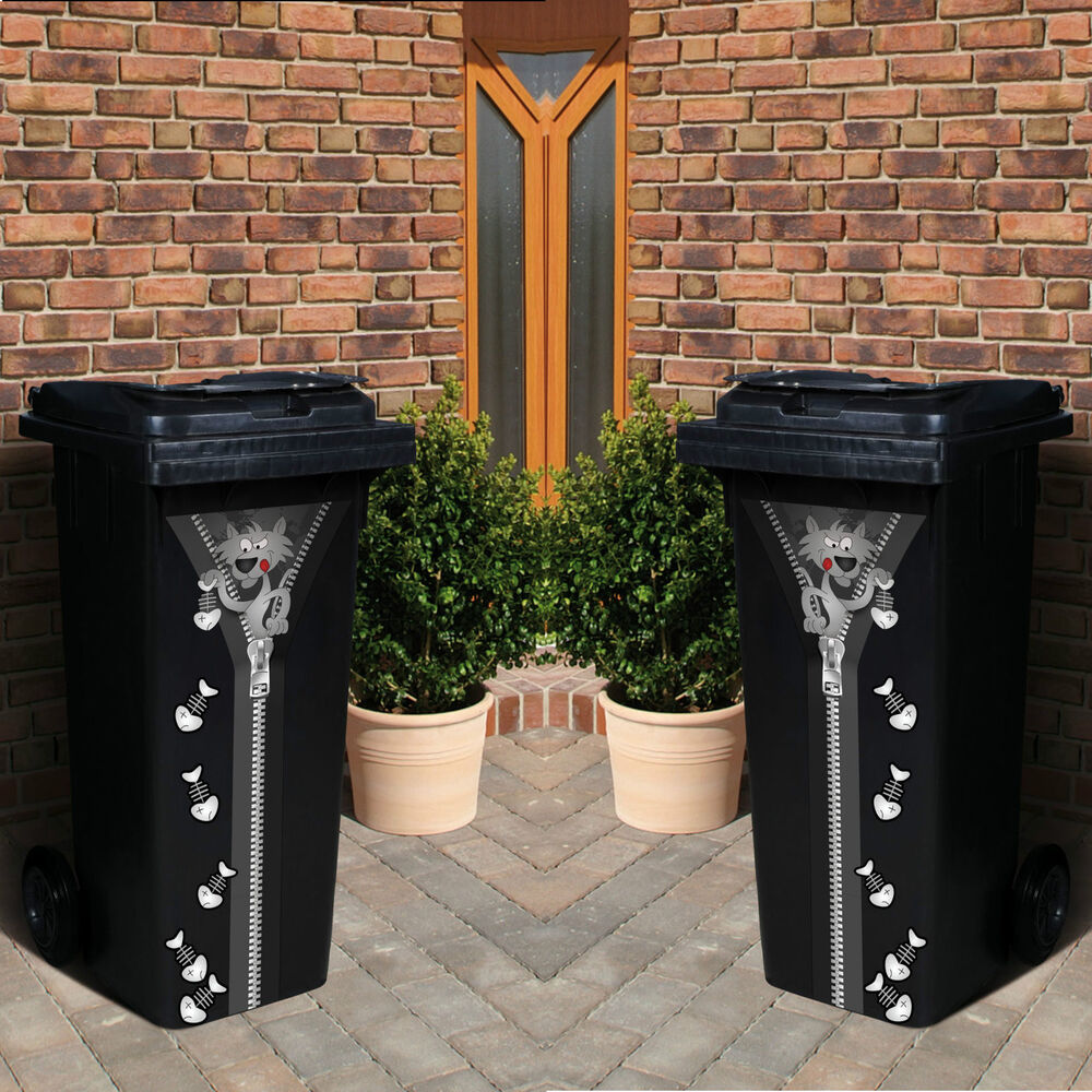 2x m lltonnen deko aufkleber set katze fishbone wand garten sticker wand tattoo ebay. Black Bedroom Furniture Sets. Home Design Ideas