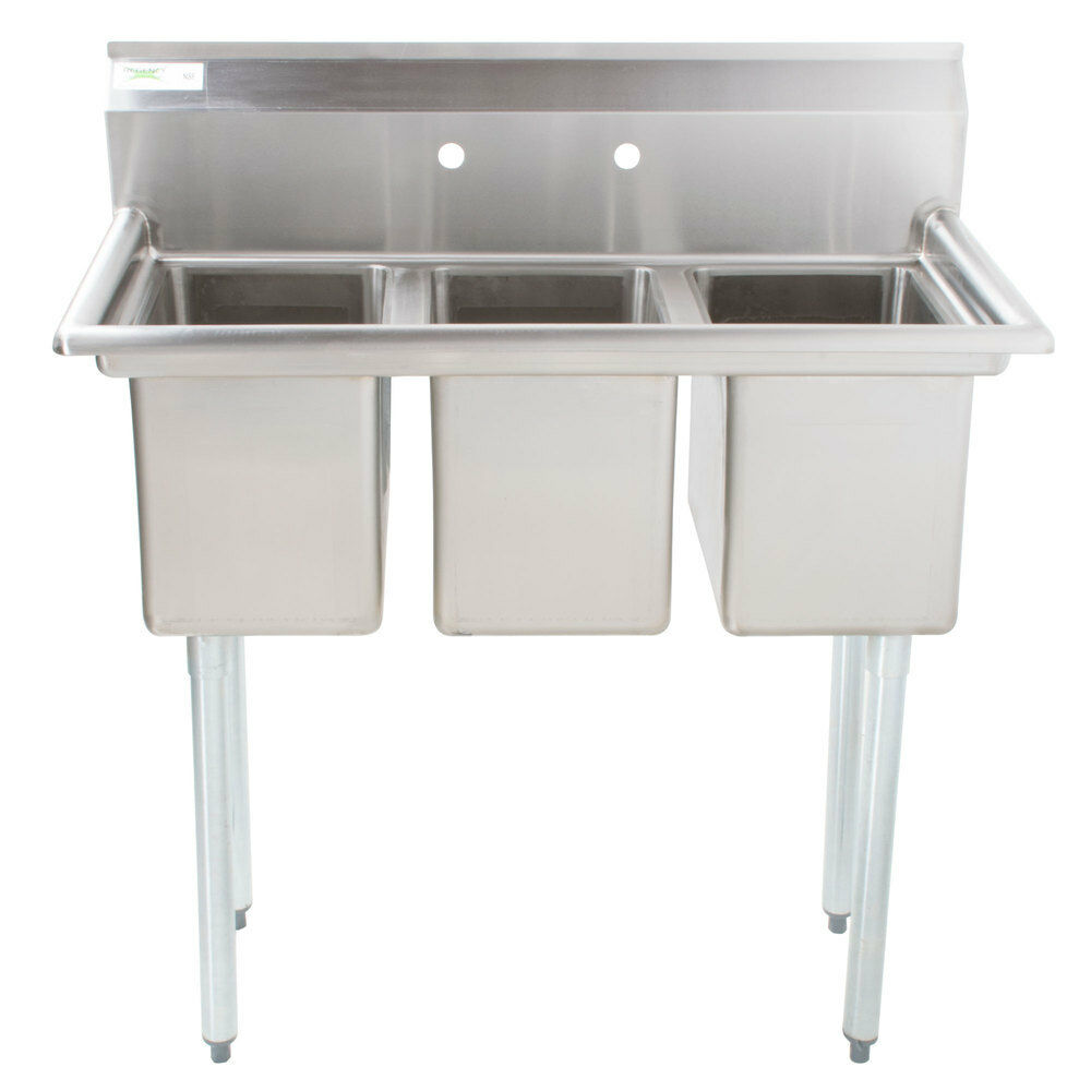39 Quot Stainless Steel 3 Compartment Commercial Sink Without