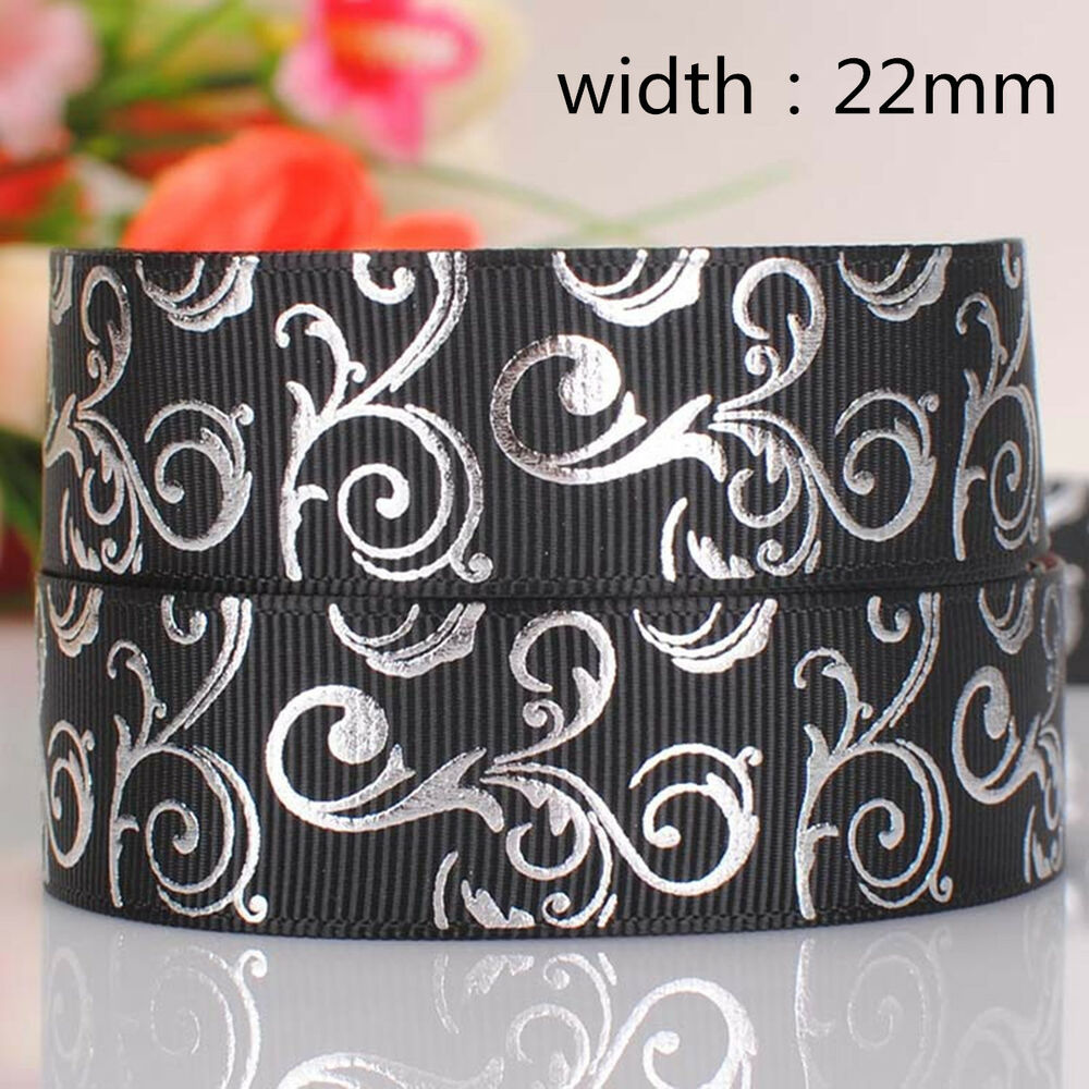 New 5yards 22mm bow print hot silver pattern ribbon for Wedding craft supplies