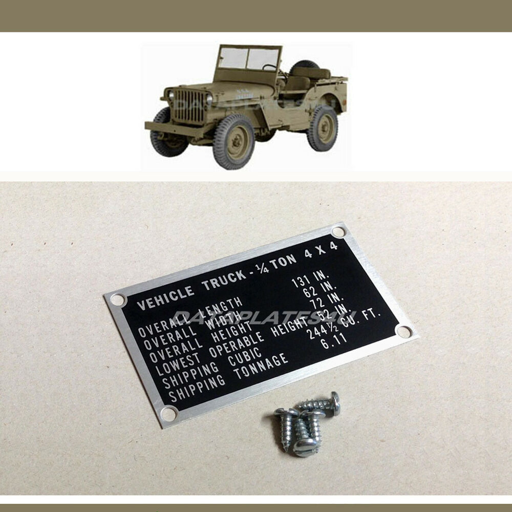 Ford Gpw Jeep Shipping Data Plate Id Tag Willys Mb Incl
