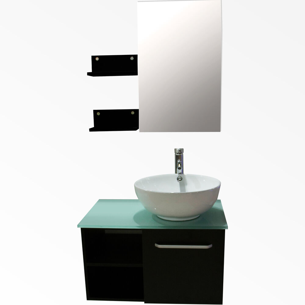 New 28 Modern Bathroom Vanity Ceramic Sink Wall Mount Cabinet W Mirror Fauce