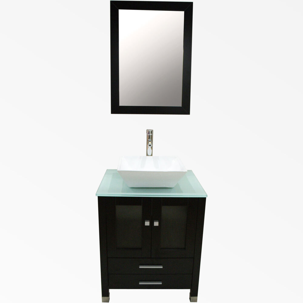 24 Bathroom Vanity Cabinet SOLID WOOD Ceramic Vessel Sink With Mirror V