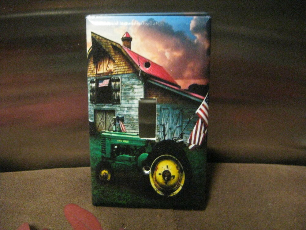 Old Barn Tractor W American Flag Light Switch Wall