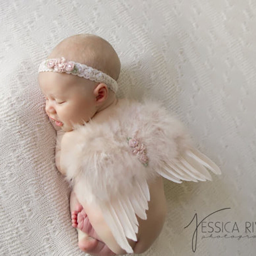Newborn Baby Girl Feather Angel Wings Matching Flower