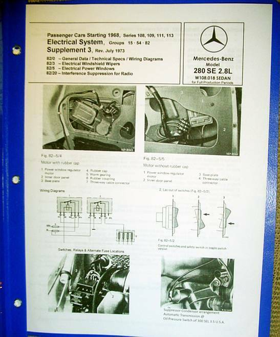 mercedes 280se w108 electrical power windows service repair manual 1966 up ebay