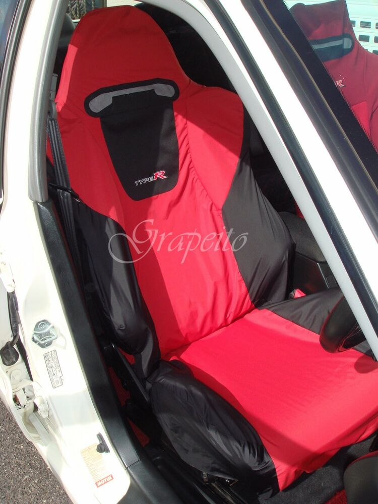 recaro honda civic type r ep3 seats cover set 2 pcs red black yellow bicolour ebay. Black Bedroom Furniture Sets. Home Design Ideas