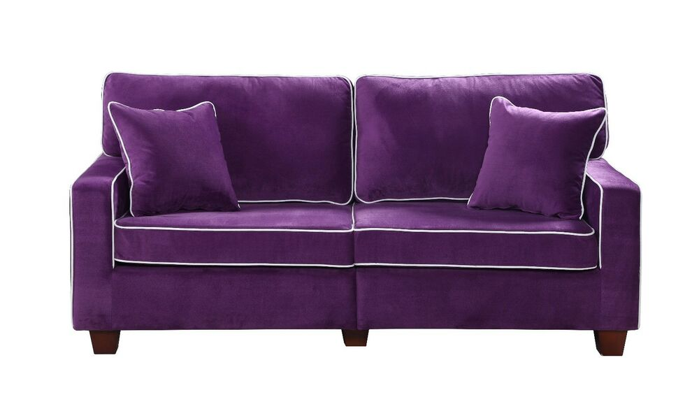 Modern Two Tone Purple Velvet Fabric Living Room Love Seat Sofa Ebay