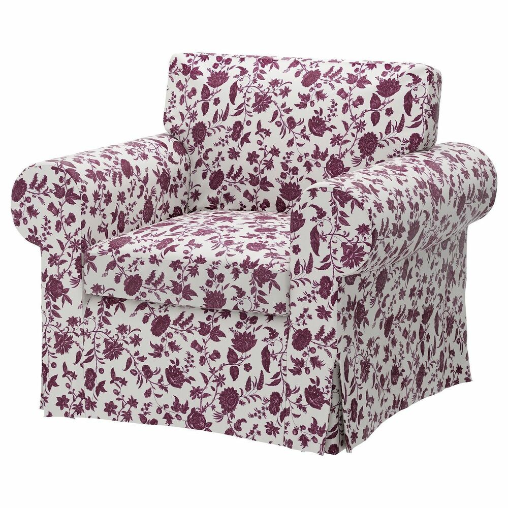 ikea ektorp cover for arm chair hovby lilac floral. Black Bedroom Furniture Sets. Home Design Ideas