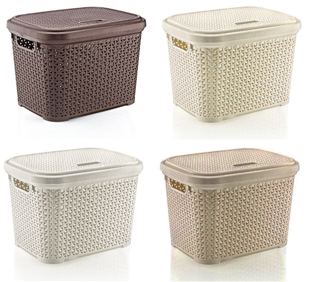 Large 20 Litre Plastic Rattan Storage Box With Lid