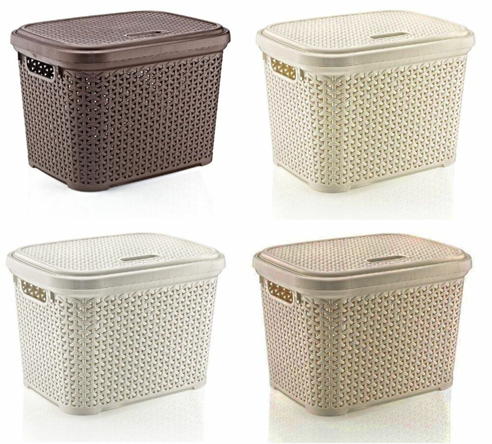 Large 30 Litre Plastic Rattan Storage Box With Lid