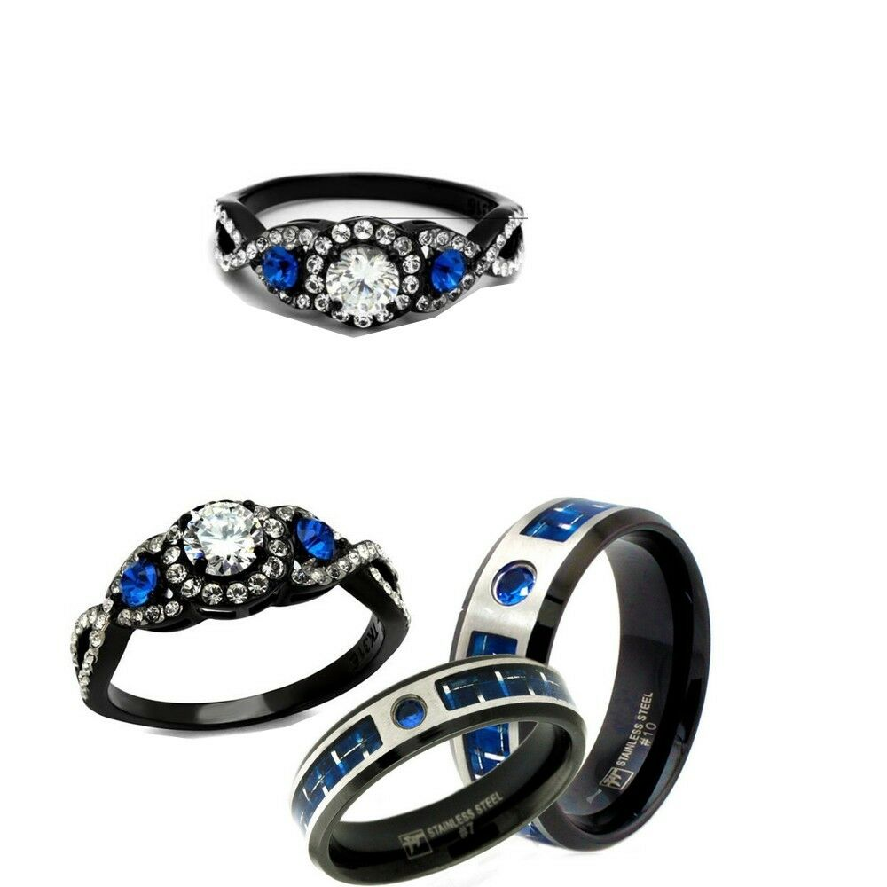 Stainless Steel Ring With Blue Cz