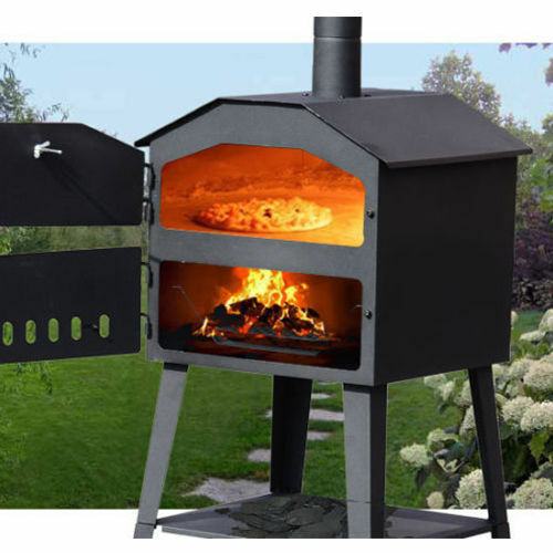 garden steel bbq pizza oven wood fired outdoor yard barbecue grill smoker heater ebay. Black Bedroom Furniture Sets. Home Design Ideas