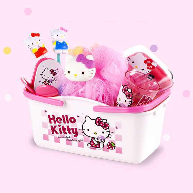 hello kitty bathroom supplies set bathing basket couple toothbrush rack cup ebay. Black Bedroom Furniture Sets. Home Design Ideas