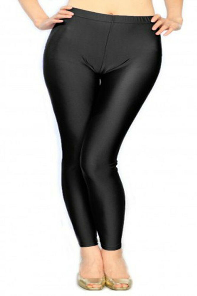 BNWT WOMEN PLUS SIZE LIQUID SHINY FASHION LEGGINGS SOLID ...