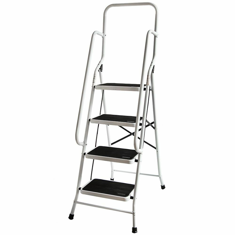 4 Step Ladder With Handrail Steel Folding Kitchen Stool