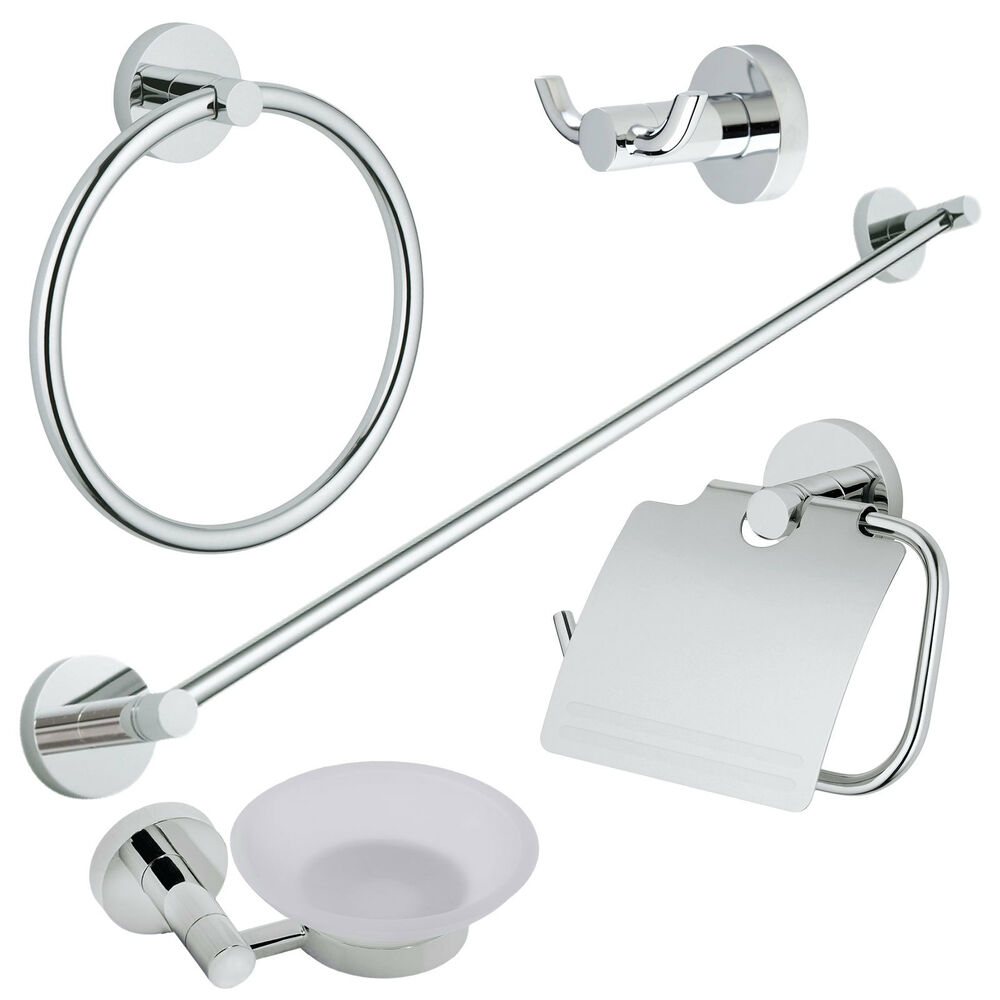 Chrome modern 5 pc bath accessories towel bar ring toilet for Toilet accessories