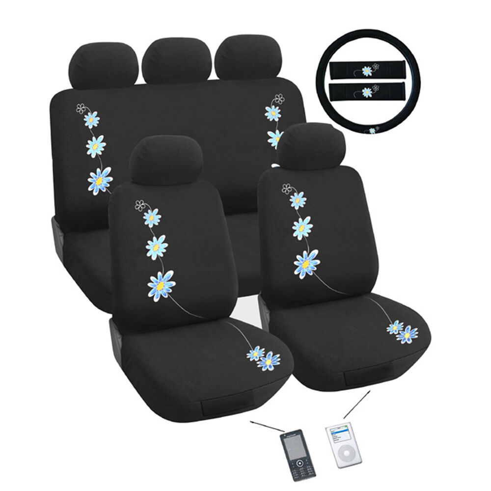 daisy blue flower car seat cover set universal fit ebay. Black Bedroom Furniture Sets. Home Design Ideas