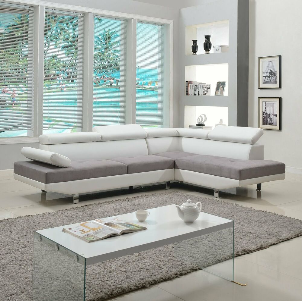Contemporary Sectional: 2 Piece Modern Contemporary White Faux Leather Sectional