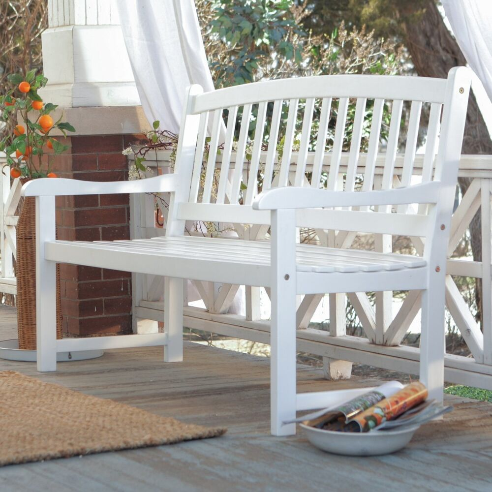 White Patio Bench Wood Outdoor Yard Deck Park Porch Garden Furniture Curved 4