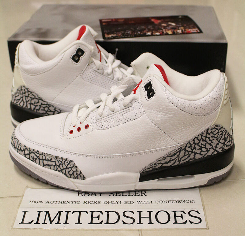 check out dcda7 fb3b9 Details about NIKE AIR JORDAN 3 III RETRO WHITE CEMENT GREY 136064-102 US 8  infrared black db