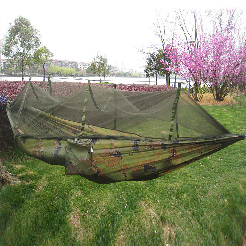 Hot outdoor camping hammock travel jungle hanging tent for Net hammock bed
